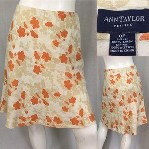 Size 0P Ann Taylor Floral Linen A-line Lined Skirt